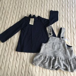 Two piece baby dress dark blue and gray bow detail